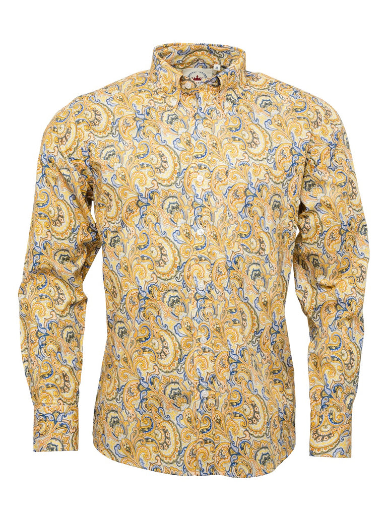 16f9c59d6 Men's Mustard Paisley shirt - PS 20 – Relco London