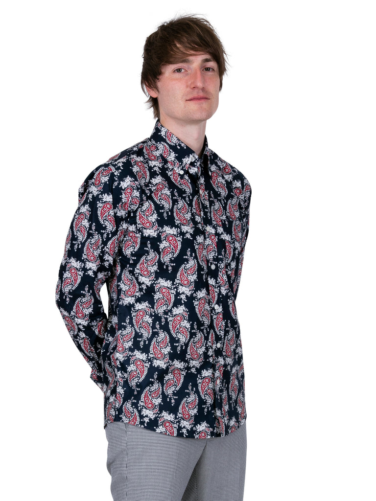 Men's Navy Paisley shirt:  PS 14