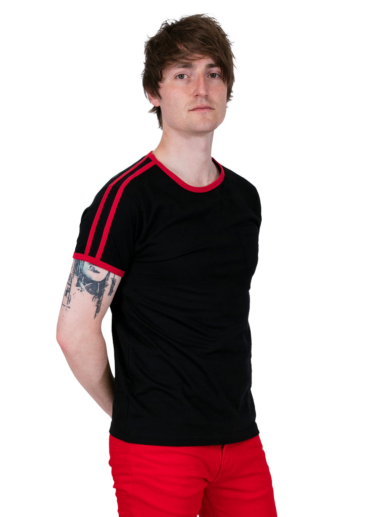 Vintage T Shirt - Black & Red Ringer