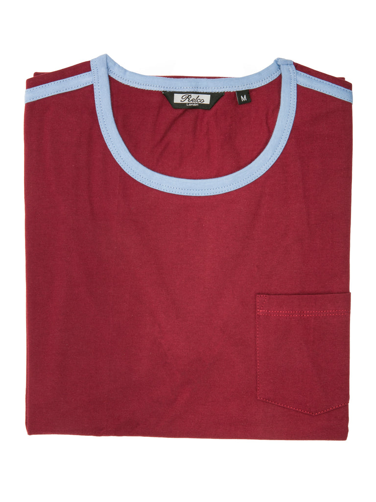 Ringer Two Tee - Burgundy & Blue