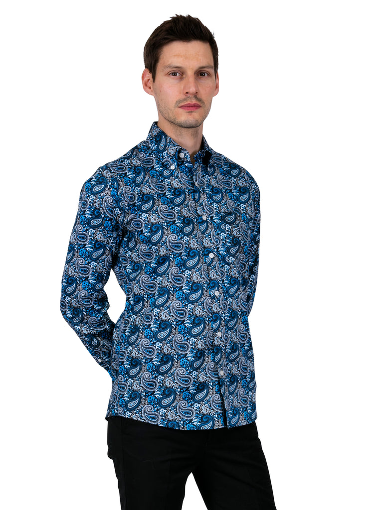Vintage Shirt - Luxury Blue Satin
