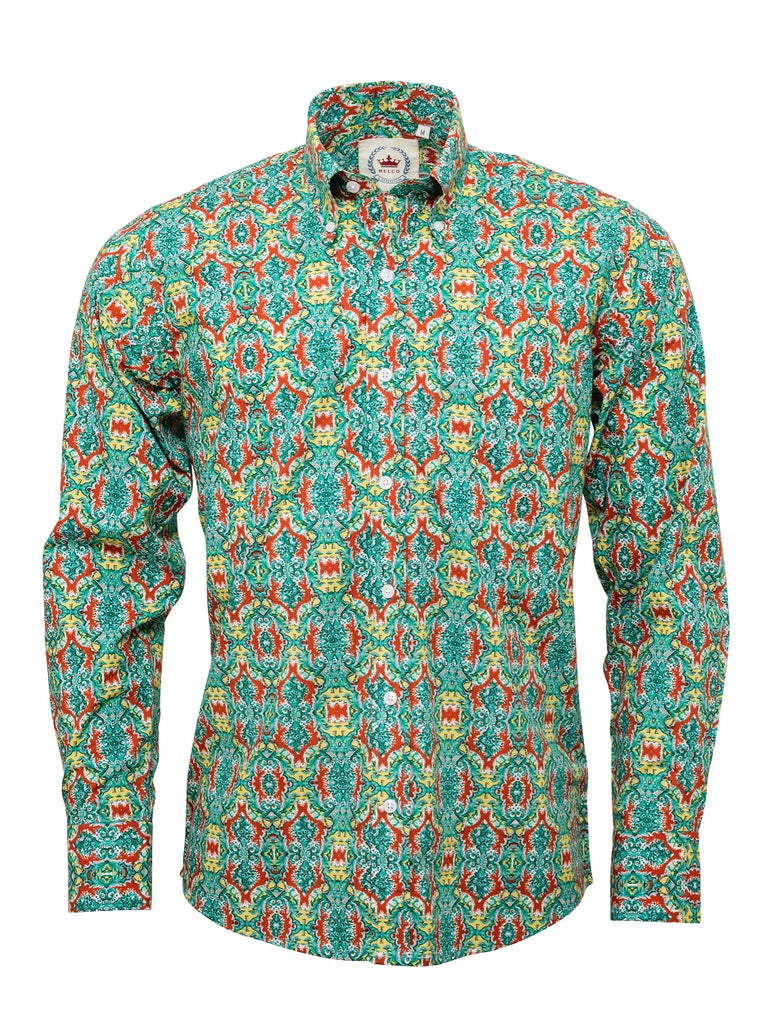 Men's Green with Red patterned shirt - RSL-20