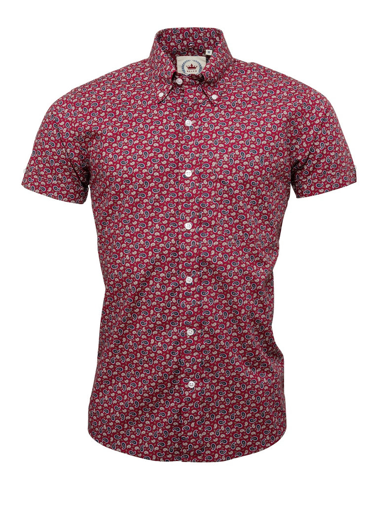 Men's short sleeve Burgundy Paisley shirt - S/S PS 15