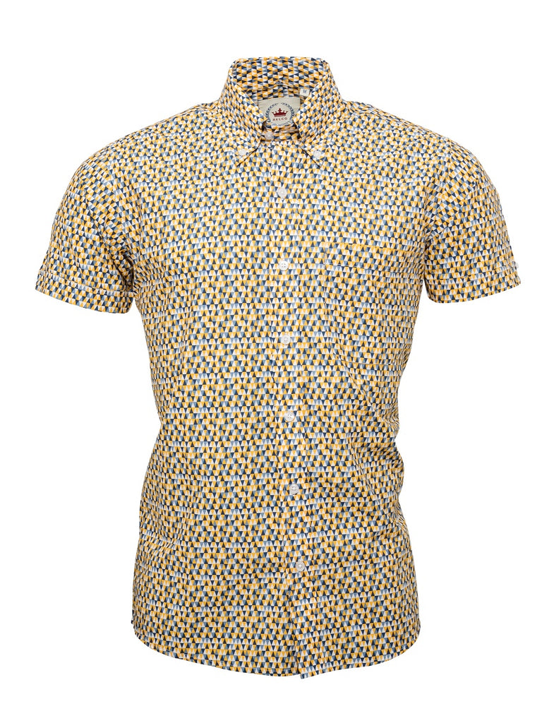 Men's Yellow Patterned short sleeve shirt - S/S RSL 18