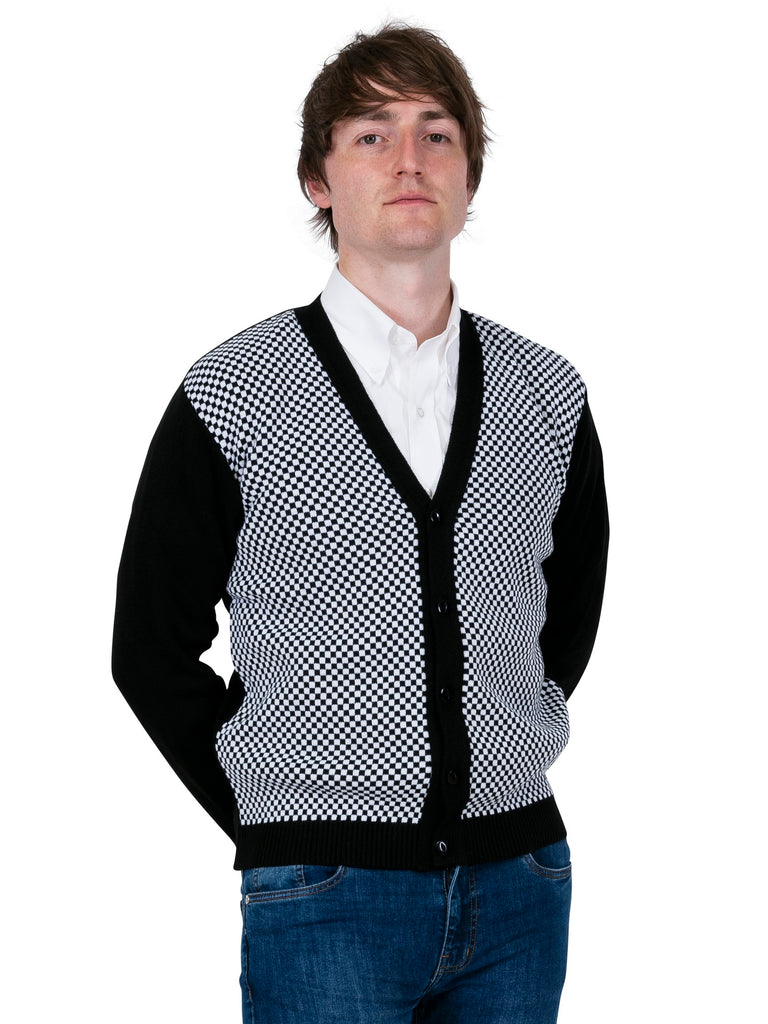 Black & White Check Cardigan - Chas