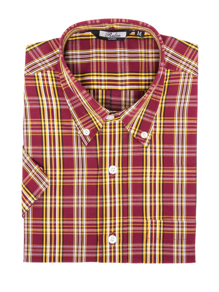 210774eef Mens Burgundy and Mustard Vintage Checkered Shirt | Relco London