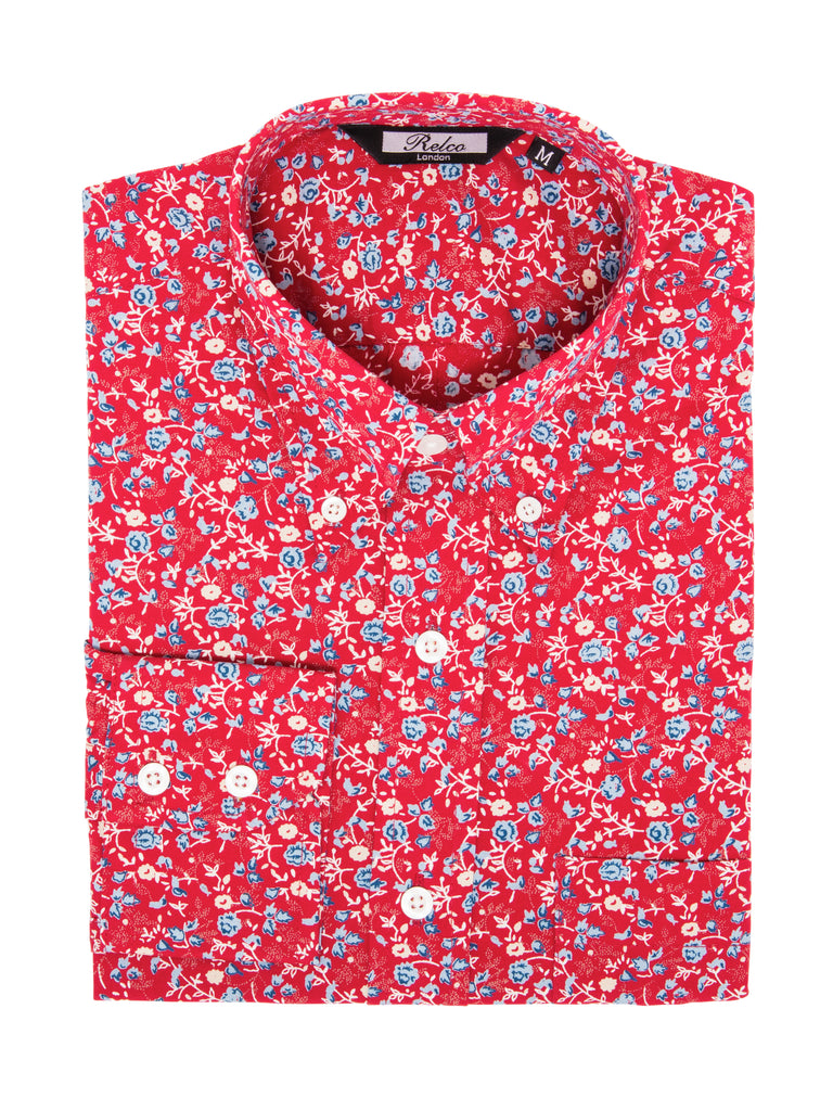 Vintage Shirt - Cotton Red with Blue Florals