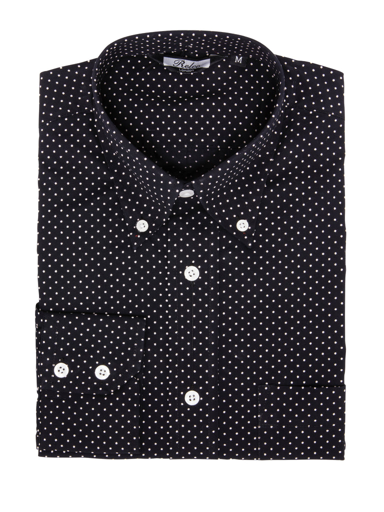 Classic Men's Navy Pindot Long Sleeve Vintage Shirt - PINDOT