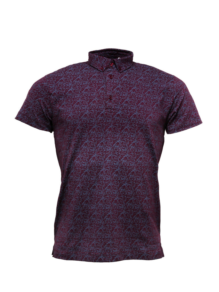 Men's Burgundy Printed Polo shirt - Polo 5