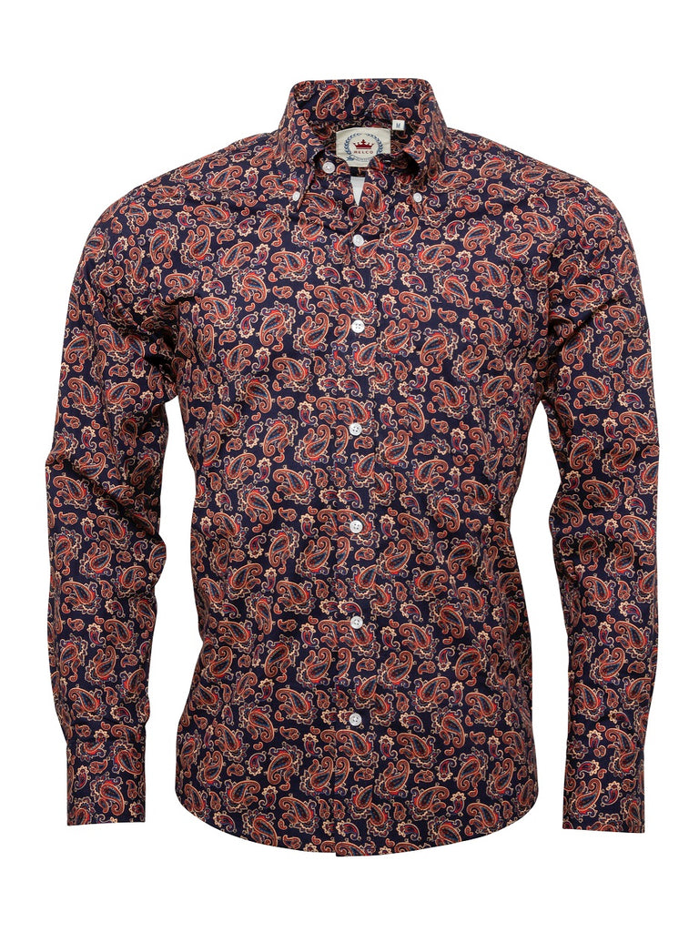 Men's Navy Paisley shirt - PS 18