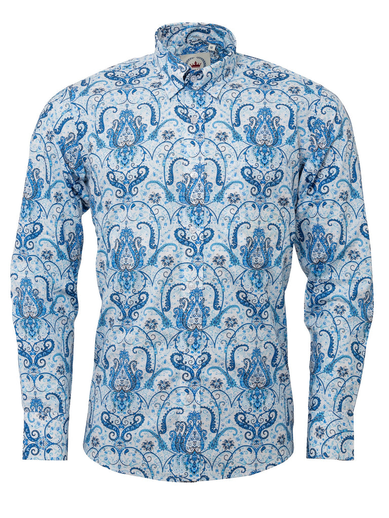 Men's Blue & white Patterned shirt - PS 23