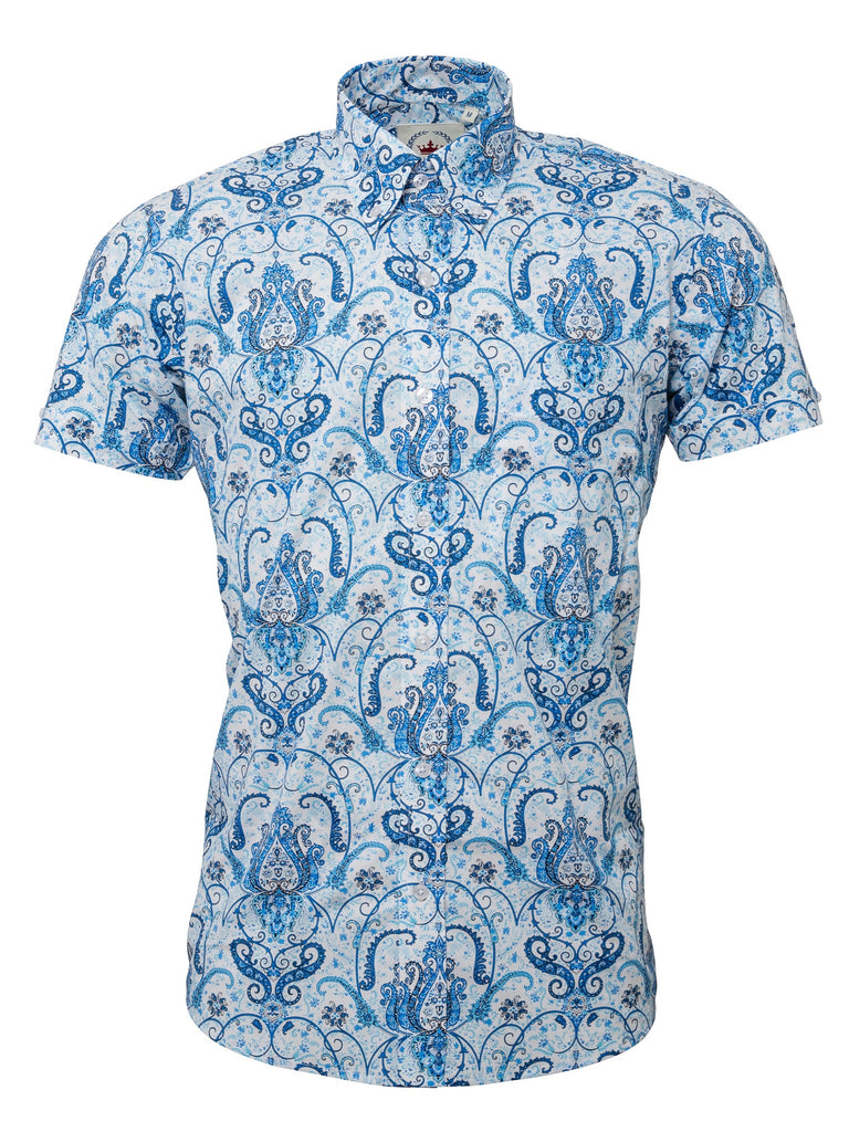 Men's Short sleeve Blue & white Paisley shirt - S/S PS 23