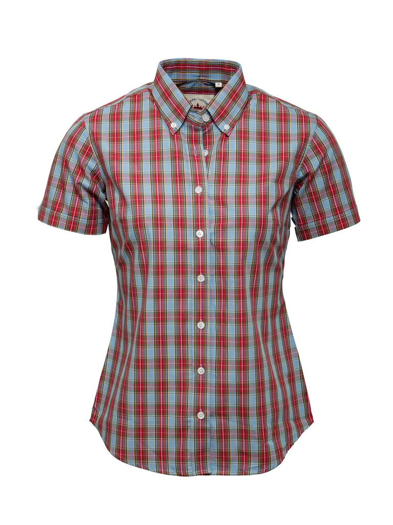 Ladies Sky blue and Red check shirt - LSS 12