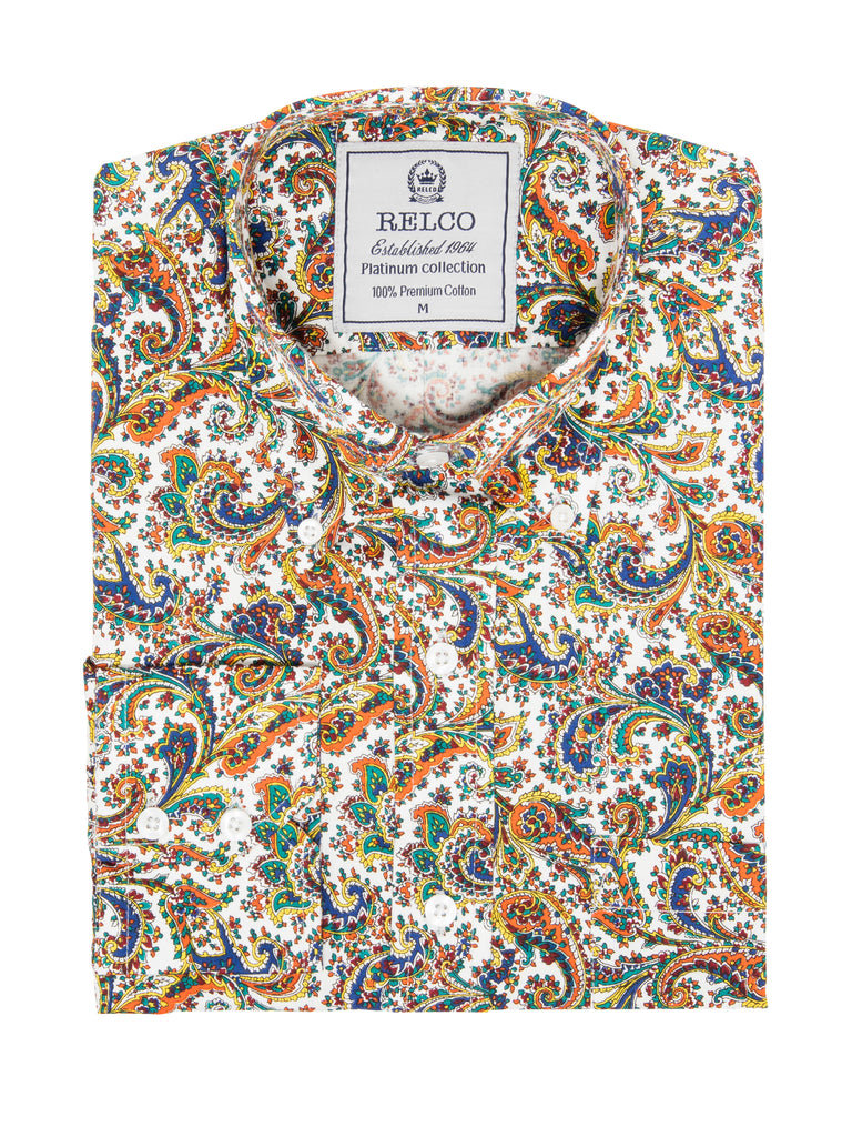 Luxury Multi Colour Paisley Mens Vintage Shirt - RSW 608 PLT