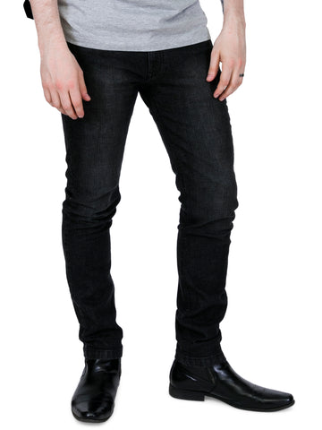 MENS RELCO LONDON SLIM FIT STRETCH JEAN BLUE FADED LOOK