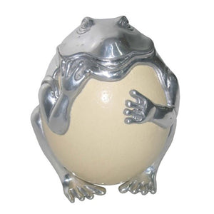 Frog with Ostrich Egg Sculpture - Furniture