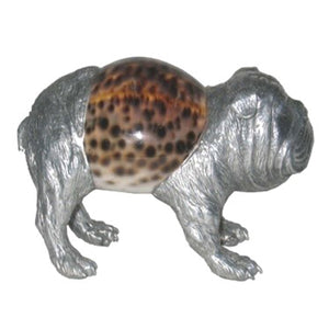 Bulldog Sculpture - Aluminum & Seashell - Furniture