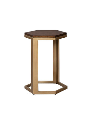 Chronograph Hexagon Brass Accent Table - Furniture