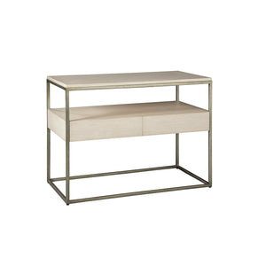 Creme Side Table with Storage -