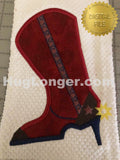 Applique High Heel Cowboy Boot HL2316 embroidery file