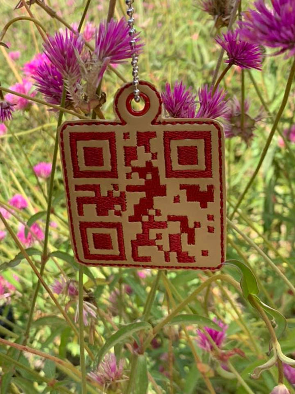 ITH QR Code Blessed Fob HL5717 embroidery files