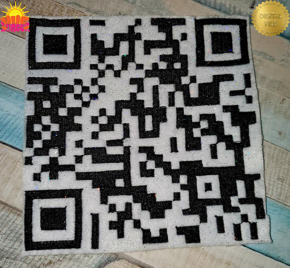 QR Rick Roll HL5769 embroidery file Rick Rolling never gonna give up Rick Astley