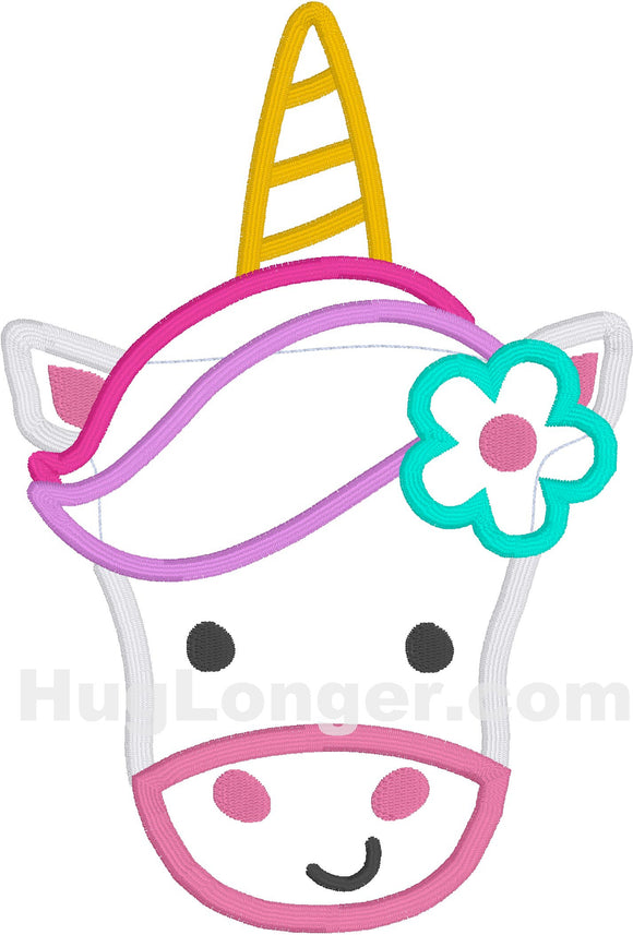 Applique Unicorn Face HL2215 embroidery file
