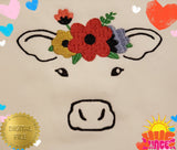 Embroidered Cow With Flowers HL5788 embroidery file