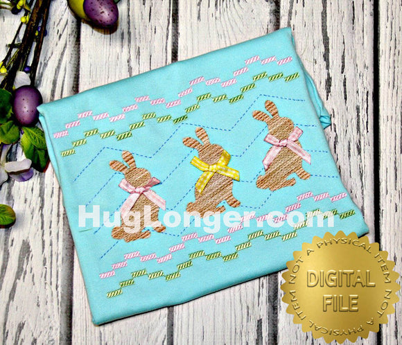 Faux Smocked Bunnies HL2487 embroidery files