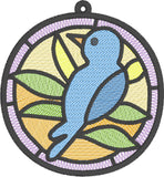 ITH Mylar Stained Glass Bird Ornament HL2438 embroidery file