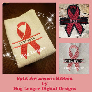 Split Awareness Ribbon HL5715 embroidery file