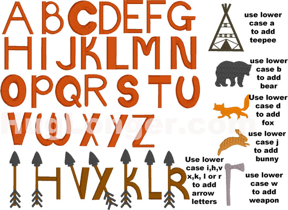 Tribal Font Uppercase HL2223 BX format embroidery files
