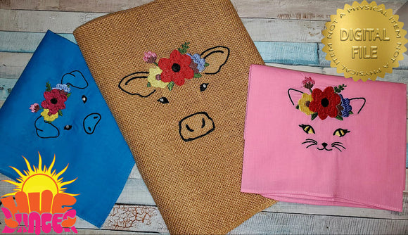 Embroidered Farm Animals with Flowers HL5791 embroidery files BUNDLE