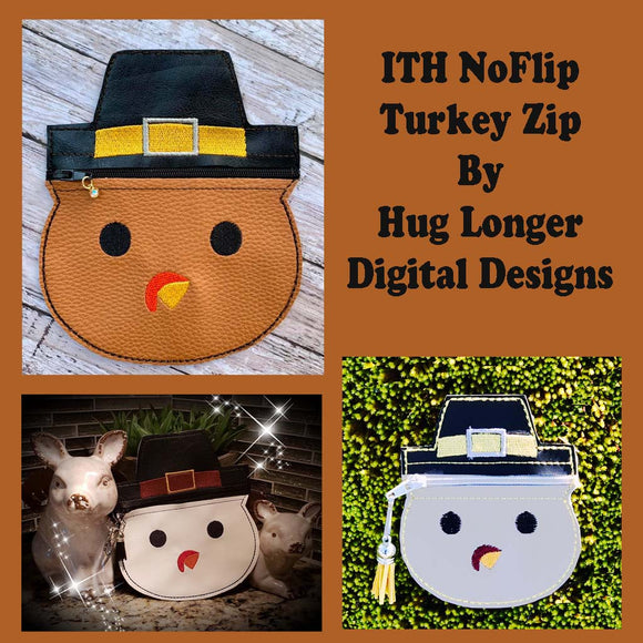 ITH No Flip Turkey Zip HL5719 embroidery file