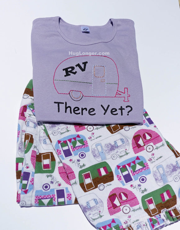 RV There Yet embroidery design file HL1031 camper vacation travel road trip