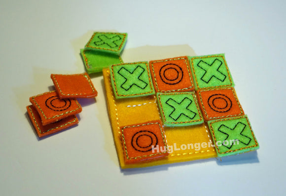 ITH Tic Tac Toe Game HL1021 embroidery file party favor travel game