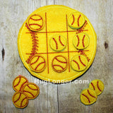 ITH Baseball Softball Tic Tac Toe embroidery file HL1048