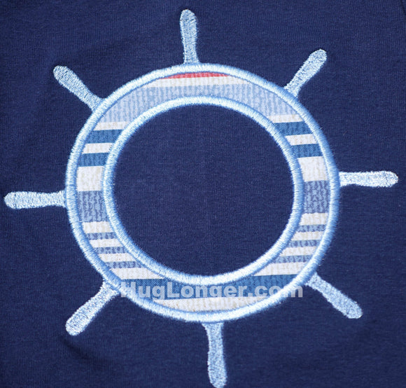 Applique Ship Wheel embroidery file, Monogram frame, great for beach, cruise or vacation HL1023