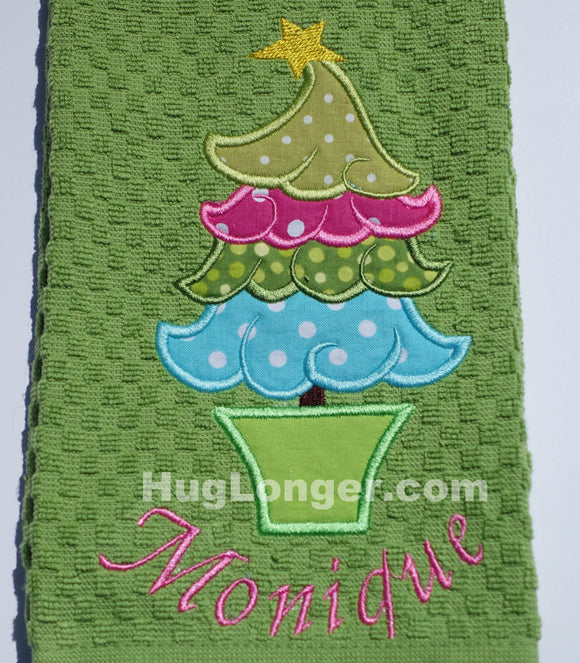 Applique Whimsical Christmas Tree embroidery file HL1061