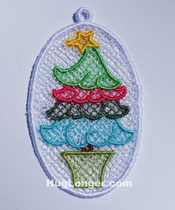 Free Standing Lace Christmas Tree Ornament embroidery file HL1062