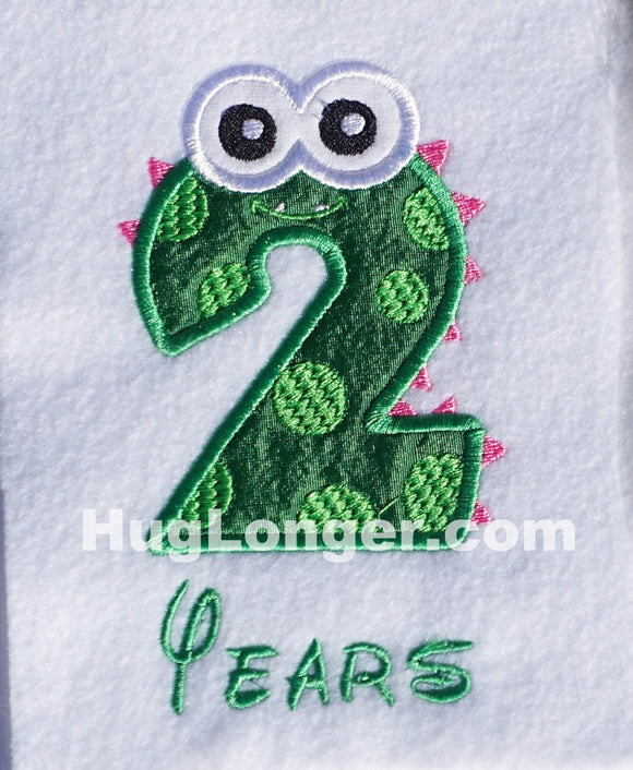 Applique Monster Two embroidery file HL1075 birthday two months two years number two