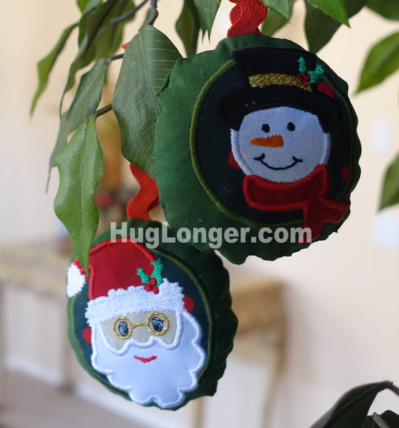 ITH Santa and Snowman Ornaments embroidery files HL1037 Christmas Ornaments