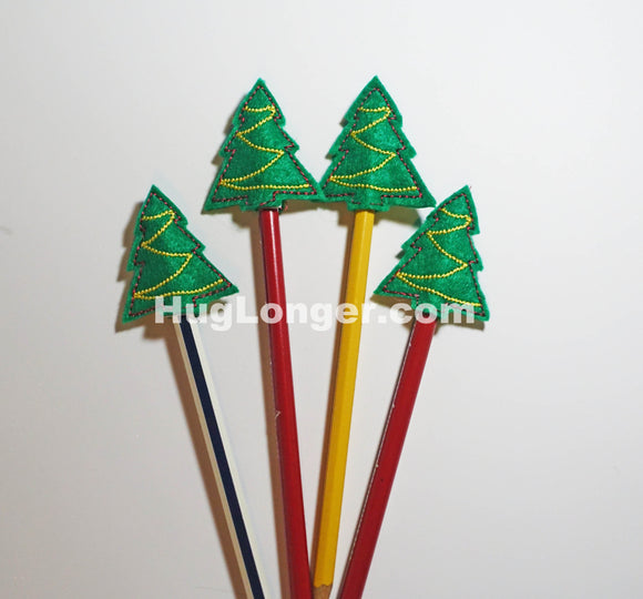ITH Tree Pencil Toppers embroidery file HL1077 Christmas Holiday Favor