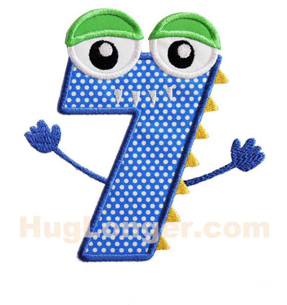 Applique Monster Seven embroidery file HL1093 Birthday
