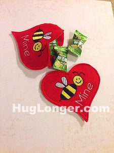 ITH Valentine Bee Card Treat Holder embroidery file HL 1094 Valentine's Day