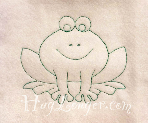 Red Work Frog HL2086 embroidery file redwork blue work color me
