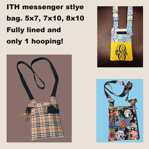 ITH Zippered Messenger style bag HL2059 embroidery file