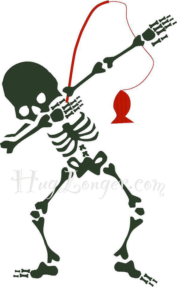 Embroidered Dabbing Skeleton Fishing HL2092 Embroidery file