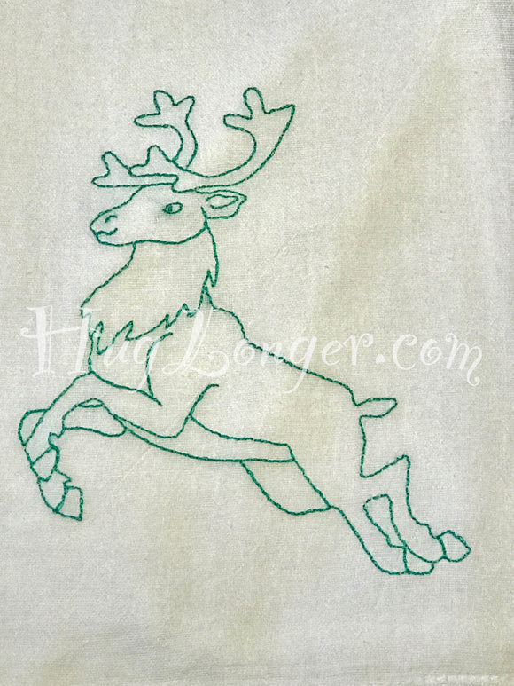 Redwork Deer HL2074 embroidery file red work bean stitch blue work