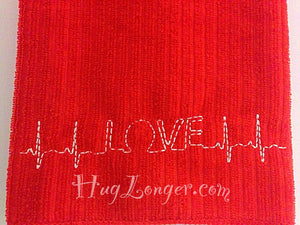 Bean Stitch Love EKG HL2130 embroidery file red work